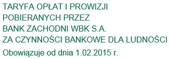 screen: taryfa opłat i prowizji BZ WBK