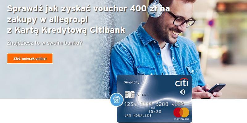 Voucher o wartości 400 zł do wykorzystania na allegro.pl – promocja karty kredytowej City Simplicity