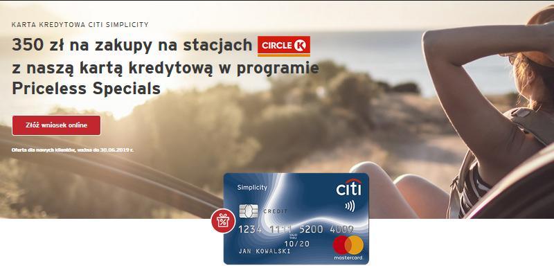 350 zł do wydania na stacjach Circle K w promocji karty kredytowej w City Banku