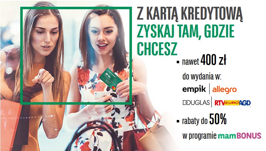 400 zł z kartą kredytową w BNP Paribas do wykorzystania w Allegro, RTV EURO AGD, Empik oraz Douglas – pula nagród