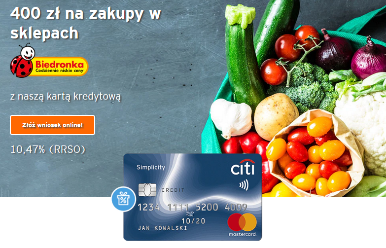 400 zł na zakupy w sklepach Biedronka – super promocja karty kredytowej City Simplicity