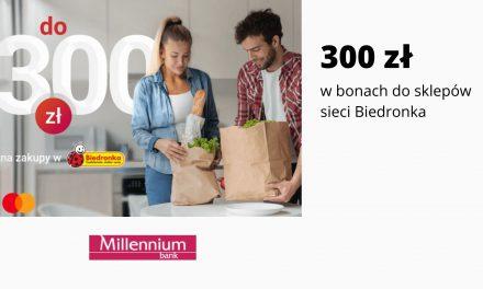 Nawet 300 zł w promocji karty kredytowej Mastercard Impresja w Millennium Banku – bony do sklepów Biedronka