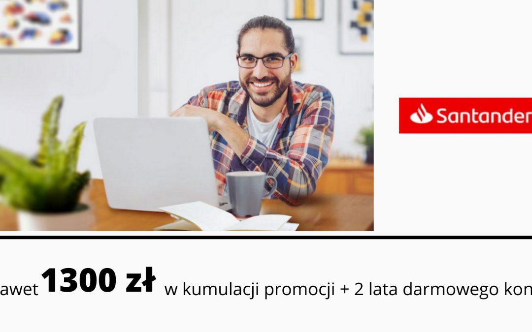 Nawet 1300 zł w kumulacji promocji Konta Firmowego Godnego Polecenia w Santander Banku + 2 lata darmowego konta