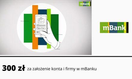 300 zł premii za założenie firmy i konta firmowego w mBanku + 2 lata darmowego prowadzenia konta