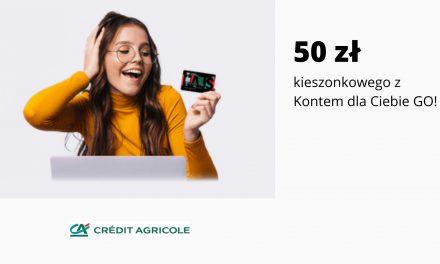 50 zł kieszonkowego w promocji Konta dla Ciebie GO! w Credit Agricole – brak dodatkowych warunków do spełnienia
