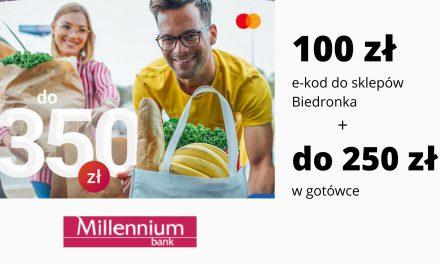 100 zł do sklepów Biedronka + nawet 250 zł w gotówce w promocji Konta 360° i Konta 360° Student w Millennium Banku – pula nagród ograniczona